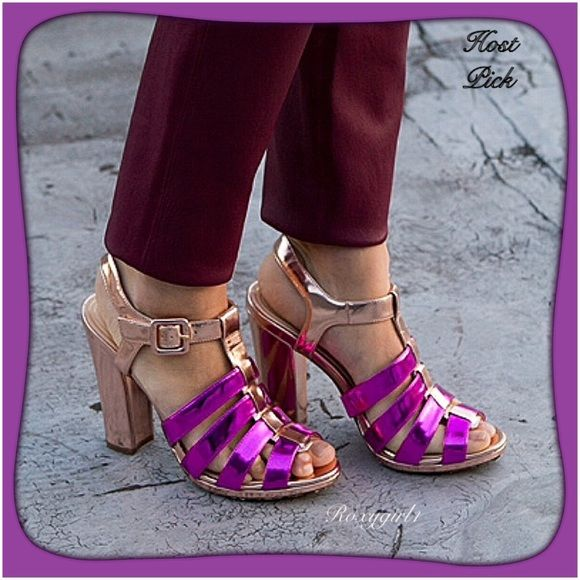 """SALECole Haan Strappy Leather Metallic Sandals Cole Haan Chelsea Strappy Leather Metallic Sandals New in Box ~ Gold / Fuschia ~ Size 8 1/2 B, Medium Width. Retail $378 +Tax The Cole Haan Chelsea.Strap.Sandal Sandals feature a Leather upper with a Open Toe. The Leather outsole lends lasting traction and wear. These are Absolutely Gorgeous & Surprisingly Comfortable! 5"""" Sturdy Heel. ✅ Reasonable offers are considered to the offer tab. ✅ ❌NO TRADE OR PP❌ Cole Haan Shoes Heels"""