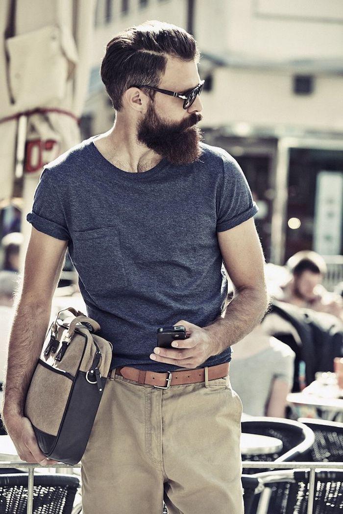 männer bart ideen outfit und style ideen t-shirt hose und gürtel tasche brille bart ideen zum stylen