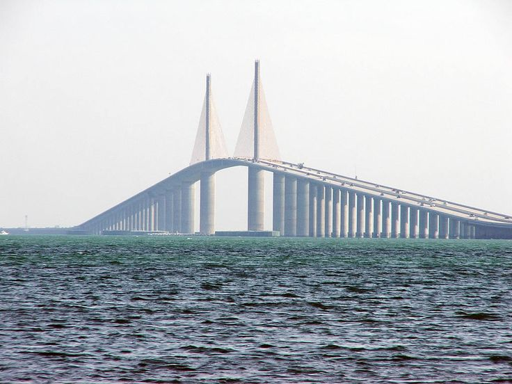 Sunshine Skyway Bridge itself, viewed from the south.