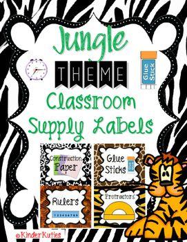 EDITABLE Jungle / Safari theme classroom supplies labels with animal print