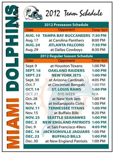 2012 Miami Dolphins NFL Football Schedule Magnet