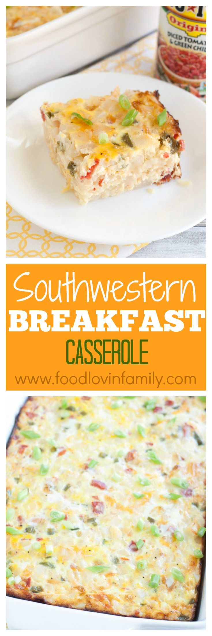 Southwestern Breakfast Casserole is a bold spin on breakfast. Packed full of flavor, made with RO*TEL, eggs, potatoes, green pepper and cheese. #ad #31DaysWithRotel   @ro_tel @walmart @roteltomatoes