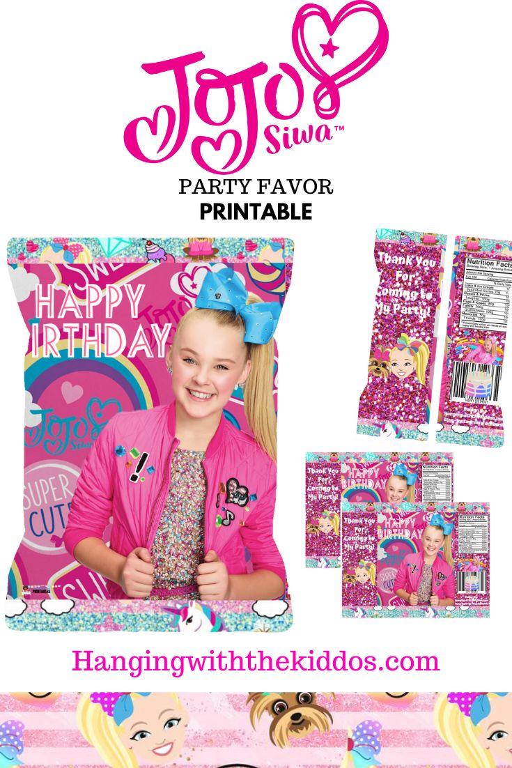 JoJo Siwa Party Favor Treat Bag-Printable Chip Bag ...