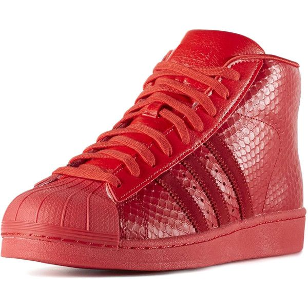 adidas The Pro Model Sneaker in Tomato Red ($100) ❤ liked on Polyvore featuring men's fashion, men's shoes, men's sneakers, red, adidas mens sneakers, adidas mens shoes, mens red sneakers, mens python shoes and mens red shoes