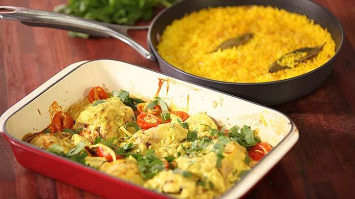 Curried Yoghurt Chicken with Turmeric Rice