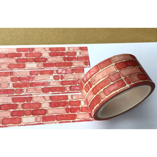 Brick Wall Washi Tape. This tape is perfect for all paper projects! Use as a border to make unique scrapbook pages! This tape has the perfect amount of adhesive; letting the tape hold firm when it nee