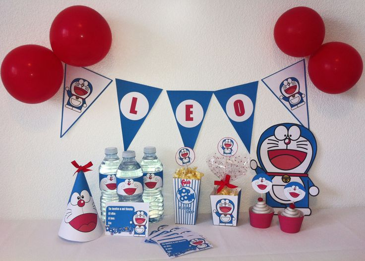 Kit imprimible doraemon. Party kit doraemon. Printable party, Printable decoration