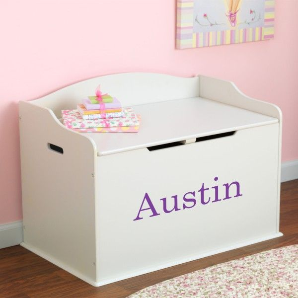 Modern Touch Personalized Toy Box - White - Dibsies Personalization Station