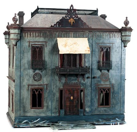 "View Catalog Item - Theriault's Antique Doll Auctions:Large Wooden Dollhouse with Roof Garden and Ballroom. 44""x45""x 32"" """