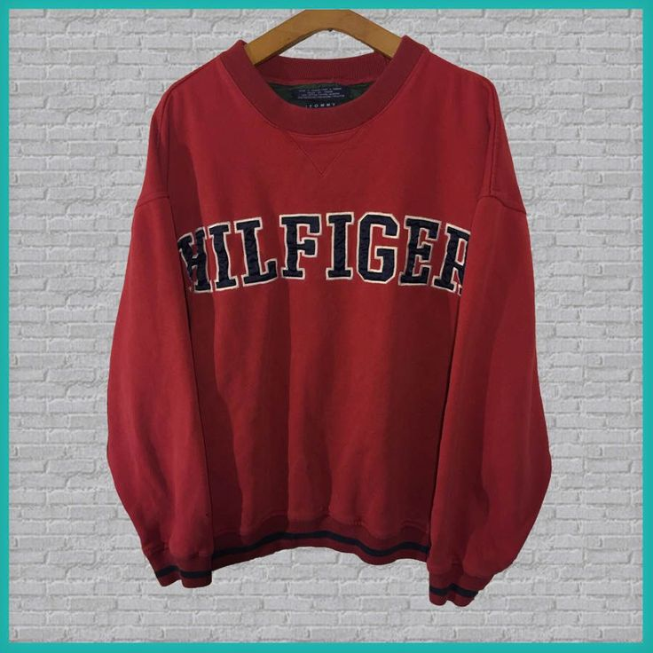 Vintage Tommy Hilfiger Crewneck Sweatshirt Red  #RePin by Dostinja - WTF IS FASHION featuring my thoughts, inspirations & personal style -> http://www.wtfisfashion.com/