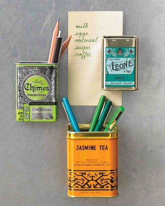 Above: Here's a clever organizing project from Martha Stewart: add magnets to the back of old tins and use them to hold pens and sundries on the side of the fridge (or on any metal surface).