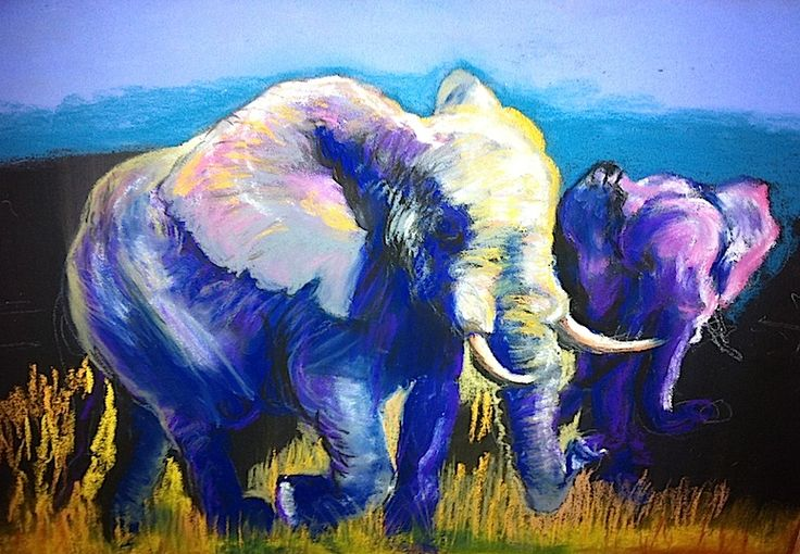 """'Wise Move"""" copyright Susan Turner: - pastel of elephants done in March 2014; Sold Dec 2015"""