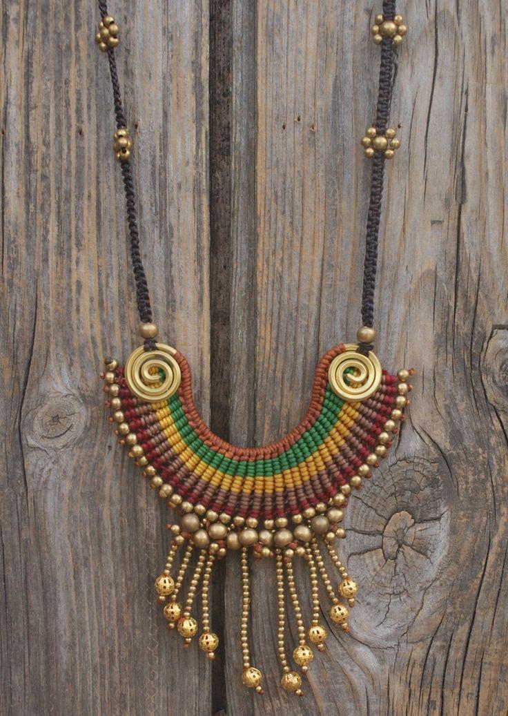 Brass & Macrame Pendant Necklace