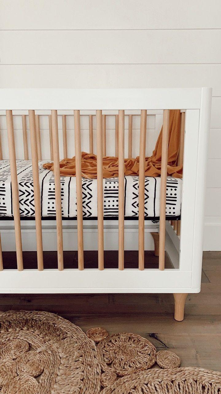 Muslin Crib Sheet White Black Mudcloth Crib Bedding Boy Baby Boy Cribs Boho Baby Room Baby crib sheets for boys