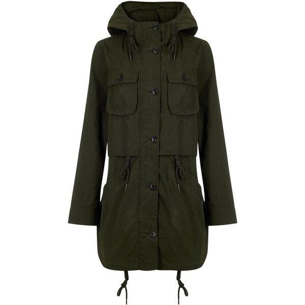 Parka London Cecile Dry Wax Parka, Khaki ($280) ❤ liked on Polyvore featuring outerwear, coats, khaki parka, mid length coat, stripe coat, striped coat and hooded coat