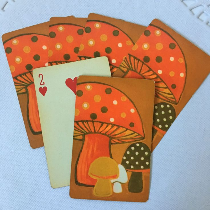 6 Assorted Vintage Bridge Playing Cards // Orange Mushroom on Brown Background // Bright vintage color graphics // UNUSED condition and free from rips, tears or creases // Perfect for arts and crafts, journaling or scrapbooking    #vintagehome #vintagestyle #loveinstavtg #usmcvet #shopsmall #instagramshop #vintageshop #vintageseller #vintagelife #vintageephemera #artsandcrafts #junkjournals #scrapbooking #smashbook #smashjournal #bunting #craftingsupplies #vintageprints #halloweenbooks…