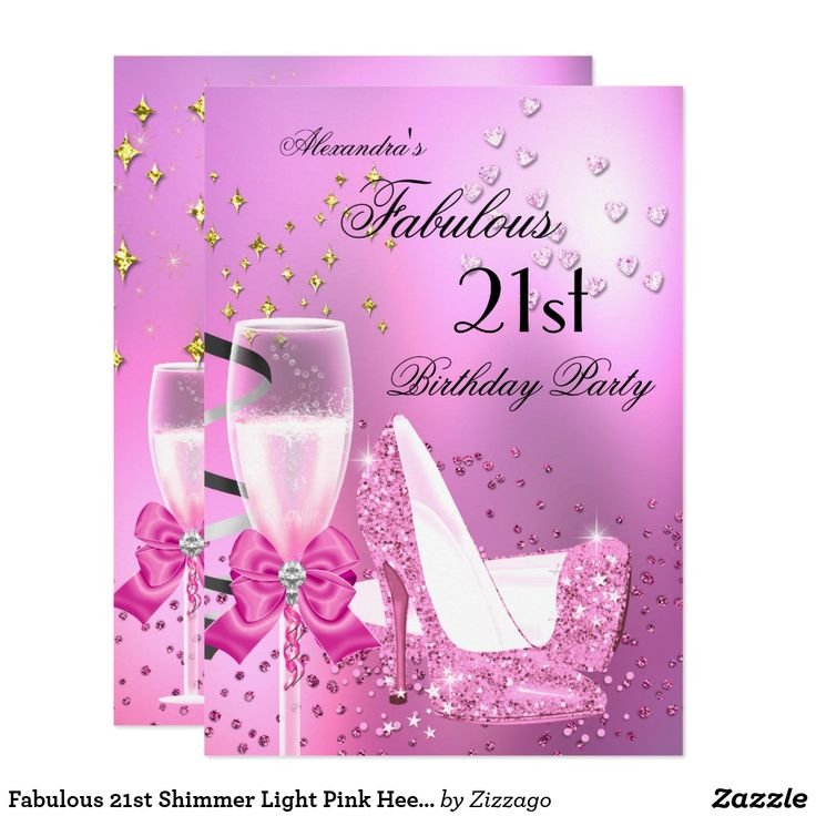 Fabulous 21st Shimmer Light Pink Heels Birthday 2 Card Fabulous 21st Birthday Party. Elegant Shimmery Light Pink Glitter High Heel shoes, Gold Sparkle and Black Champagne. Any Age. Women's ladies or mens. Elegant Classy Celebrations All Occasion Invitations. Party birthday invites Template for 21st, 30th, 40th, 50th, 60th, 70th, 80th, 90, 100th,