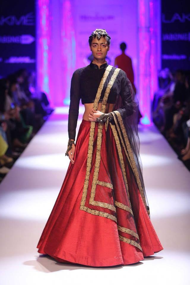 Black and red Indian wedding lehenga by Shantanu & Nikhil at Lakme Fashion Week Winter 2014