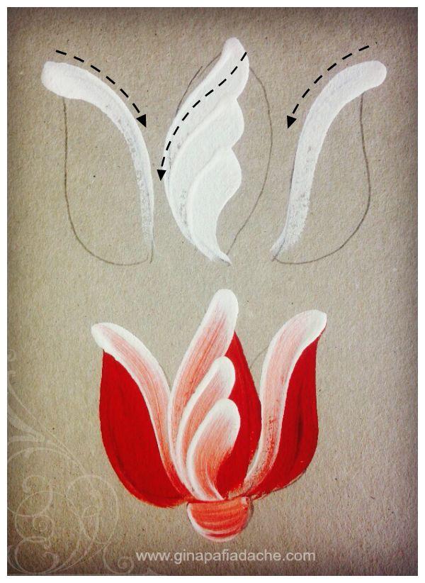 Atelier Gina Pafiadache: Treinando as pinceladas da Tulipa em Bauernmalerei                                                                                                                                                                                 Mais