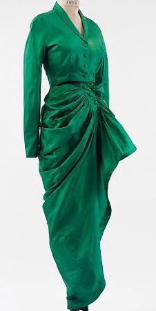 Balenciaga - Vintage - Veste Courte et Robe Bustier à Boutons - Soie - 1946
