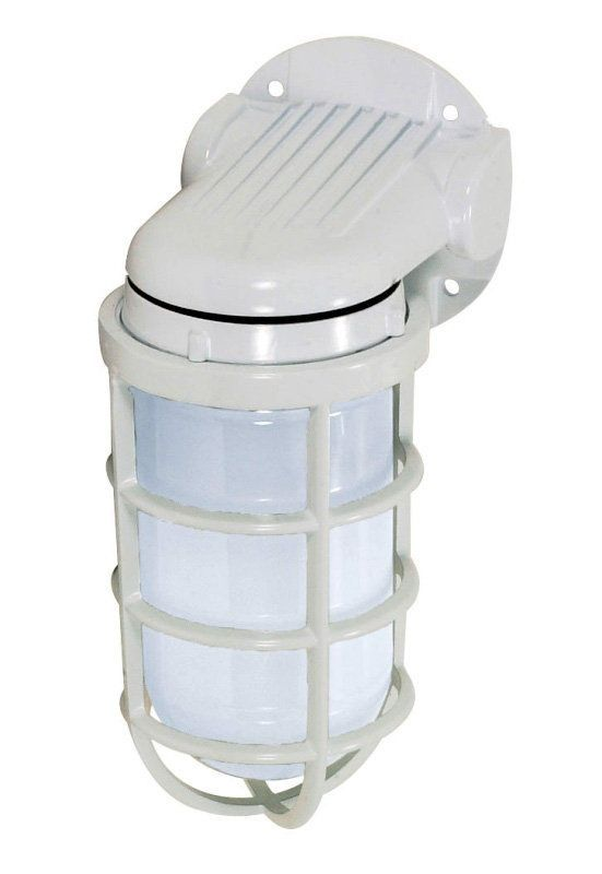 """Single Light 11"""" 150W Industrial Style Wall Mount Fixture with Caged Frosted Glass Shade, in White Finish"""