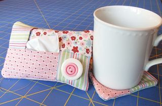 Cute & easy tutorial for Kleenex pouch & fabric coaster -- Wouldn't this make an adorable get well gift? Stuff the cup with the Kleenex pouch, the coaster, a bag of tea or instant soup, put it in a clear bag and tie it with a ribbon.