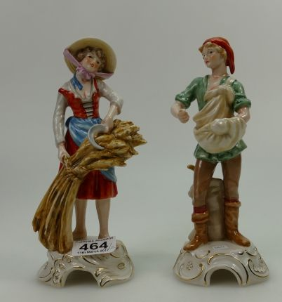 Auction of 20th Century British Pottery, collectors items, household items, antique and quality furniture – Lot 464 – Unmarked Cellulose painted figure of Ballet Dancer together with similar Dutch Boy and Girl (in the Wade style)(3)