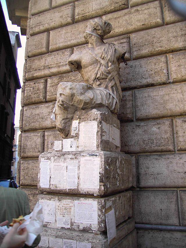 Слово «пасквиль» происходит от топонима «Пасквино» (итал. Pasquino), народного прозвища статуи в Риме близ Пьяцца Навона, к которой авторы сатирических листков, нападавшие на определённых лиц, прикрепляли свои произведения. Отсюда пасквиль стал вообще обозначать клевету, часто анонимную