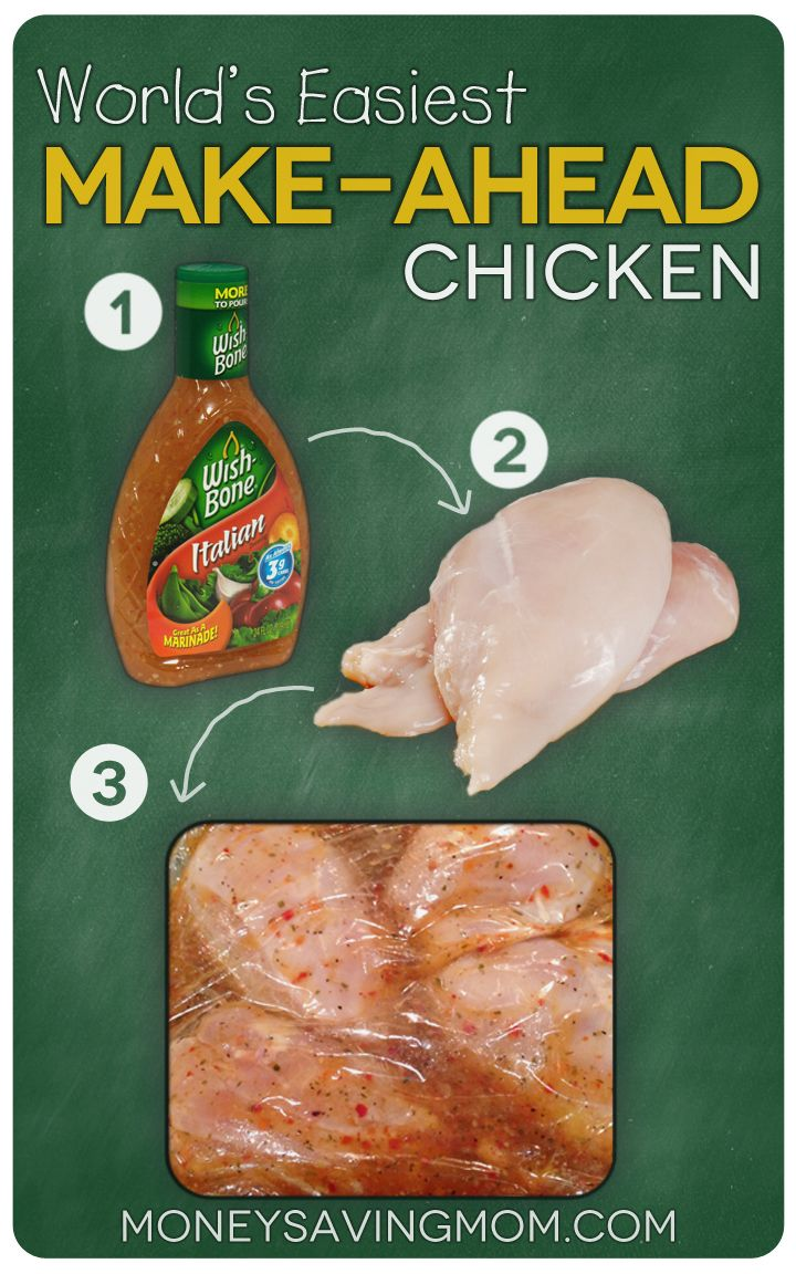 World's Easiest Make-Ahead Chicken -- just chicken breasts and salad dressing cooked in the crockpot. People ask me for the recipe every time I make this!