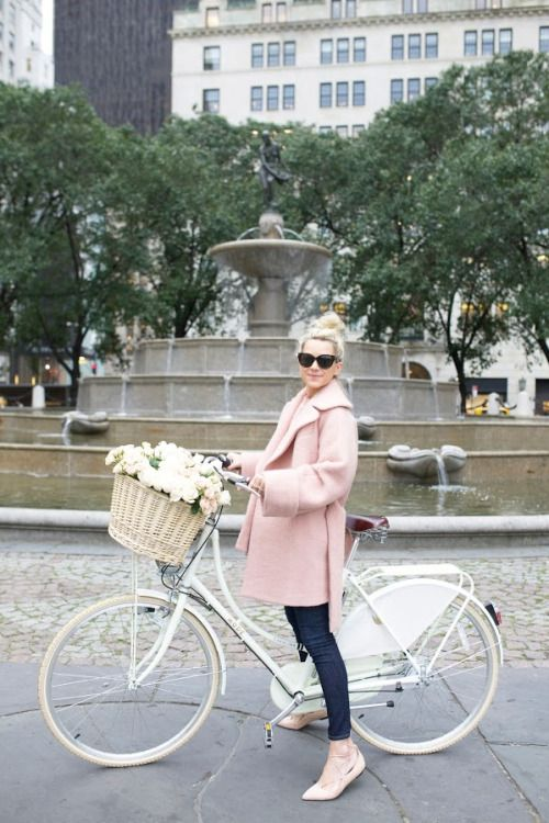 J'adore J. Crew...... pink heels & coat + basket of blooms + white bicycle = <3