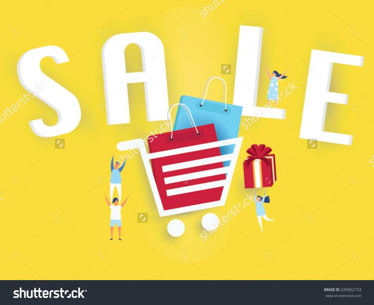 Sale banner on yellow background,gift,shopping bag and young business people.Design for website promotion poster.paper cut origami style.
