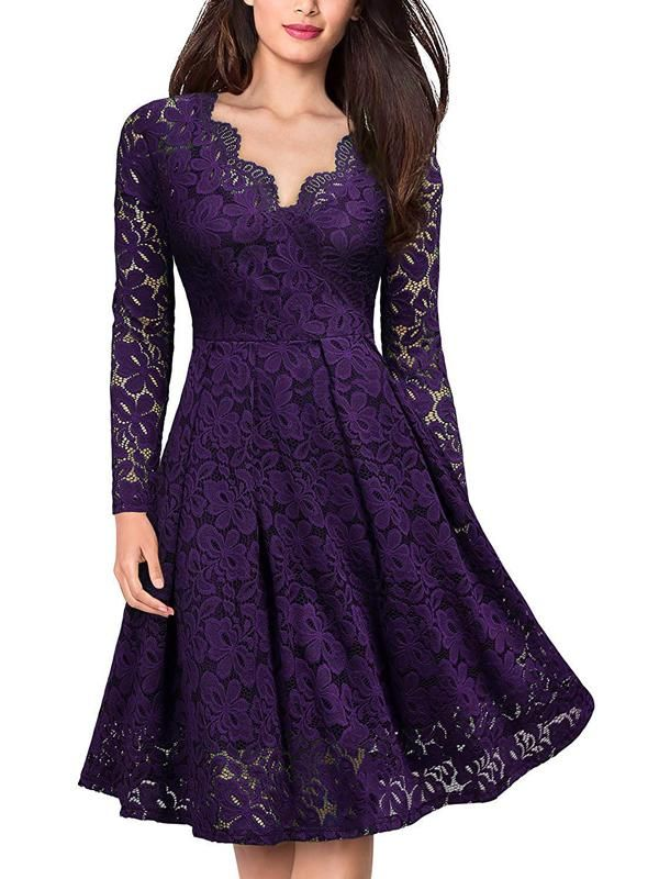 917f76b94f239 Women's Retro Deep V Neck Floral Hollow Lace Dress in 2019 | Liz ...
