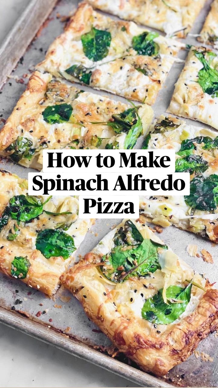 Spinach Dinner Recipes, Chicken Spinach Recipes, Vegan Dinner Recipes, Vegan Dinners, Spinach Meals, Appetizer Recipes, Appetizers, Healthy Homemade Pizza, Healthy Pizza Recipes