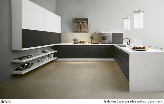 Modern grey and white kitchen in U-shape // Cesar Arredamenti Frida - Cesar Arredamenti keukenkasten