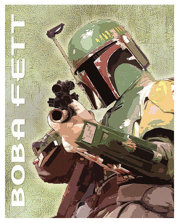 Star Wars - Boba Fett -  8x10, 11x14 or 16x20 print - Starwars poster - Boba Fett - Star Wars character print - Star Wars ships