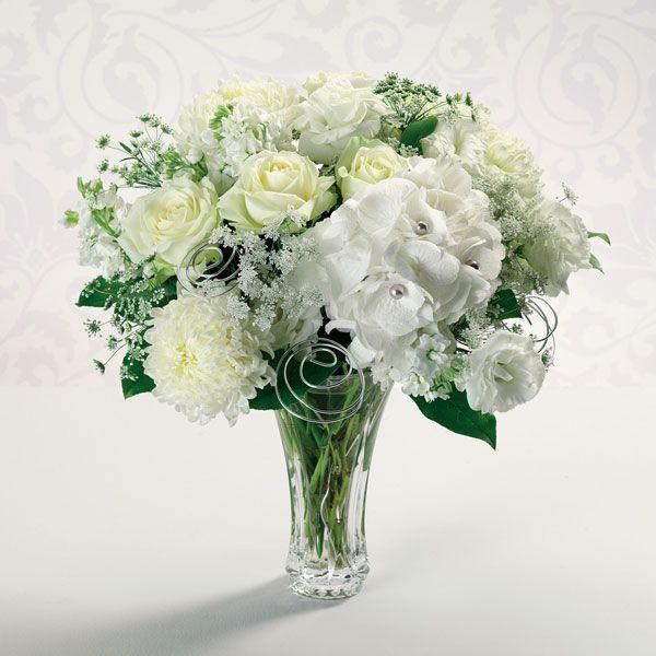 Large White Arrangement In Vase Winter Wonderland Centerpiecessneakers Womenanniversary Flowerssilver Anniversarywedding