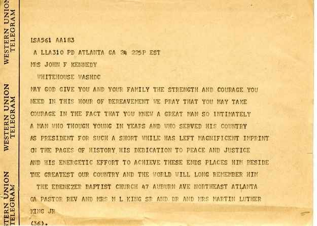 Condolence telegram to Jackie Kennedy from civil rights leader Dr. Martin Luther King.