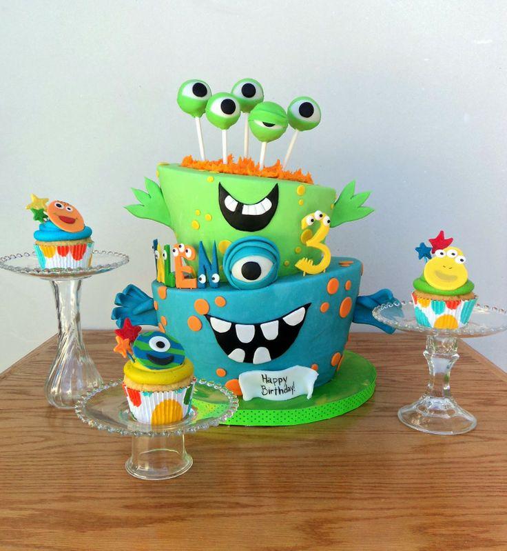 Topsy turvy monster cake