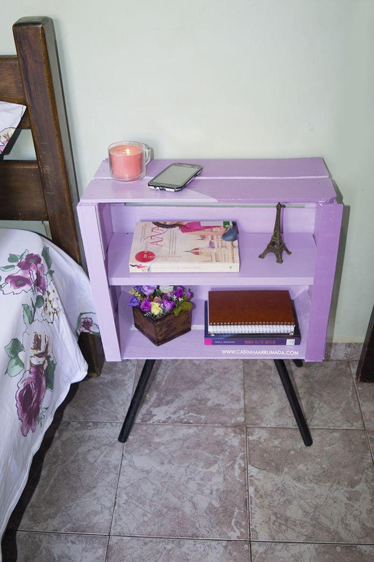 DIY - Mesinha feita com caixote de feira e cabo de vassoura