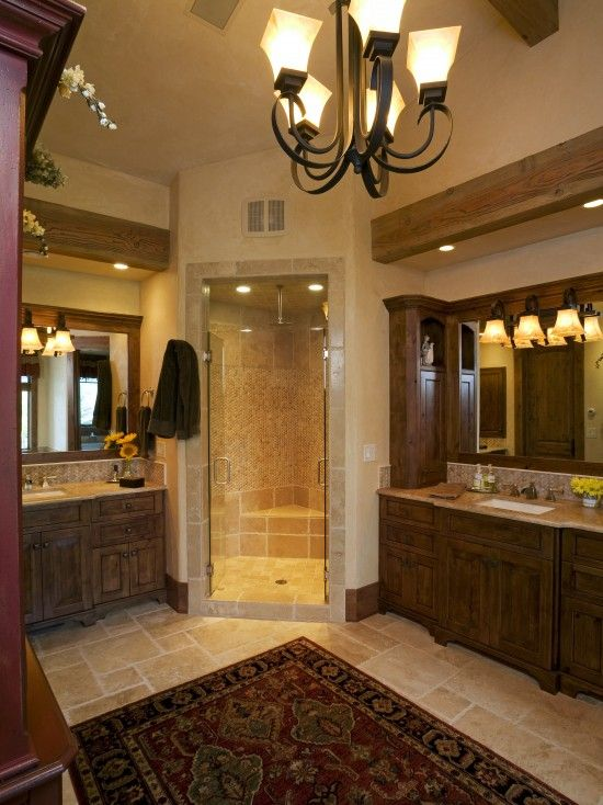 Corner shower his and her sinks tile and wood mix - How to layout a bathroom remodel ...