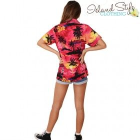 Pink Sunset Ladies Hawaiian Shirts Blouse Lady Unisex Fancy Dress