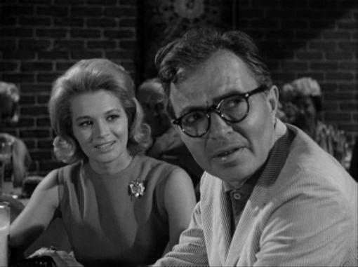 Angie Dickinson and James Mason in  Captive Audience from The Alfred Hitchcock Hour series. Shamley Productions, 1962