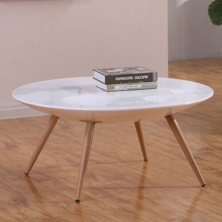 Best Quality Furniture Modern Natural-finished Wood Round Coffee Table with Gloss White Tabletop