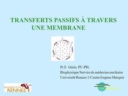 TRANSFERTS PASSIFS À TRAVERS UNE MEMBRANE Pr E. Garin, PU-PH, Biophysique/Service de médecine nucléaire Université Rennes 1/Centre Eugène Marquis.