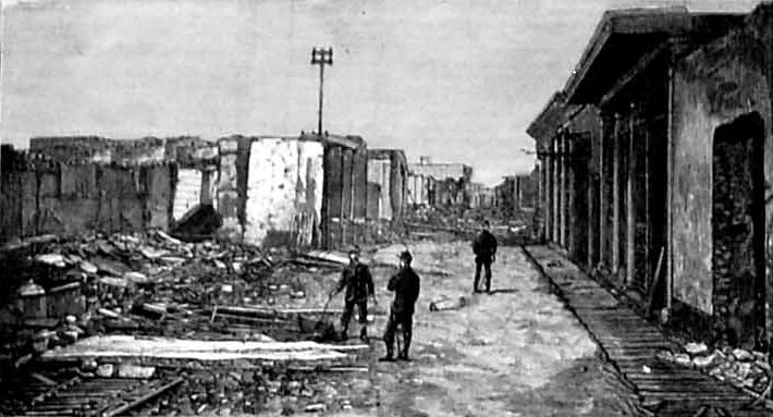 Escombros de una calle de Chorrillos después del triunfo del ejército chileno (enero de 1881)