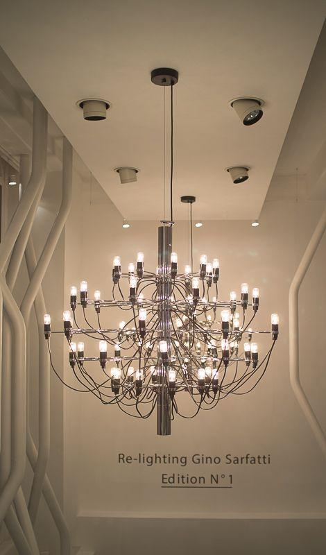 Flos Moroso Showroom | Gino Sarfatti Modelo 2097 chandelier | London Design Festival Party | #Homedoubler