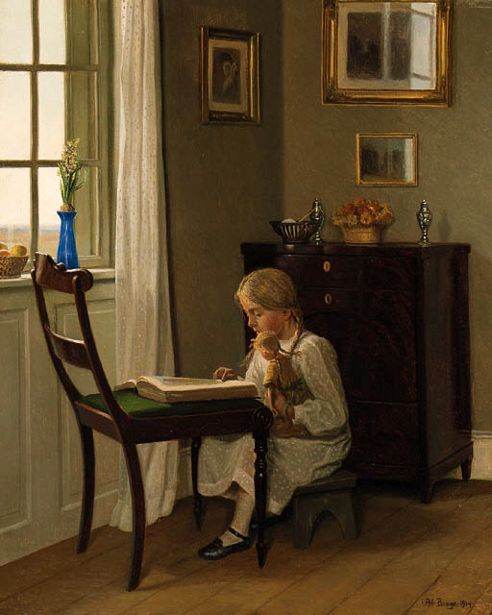 Karl Harald Alfred Broge( 1870-1955, Danish):A Young Girl Seated Reading Before The Window