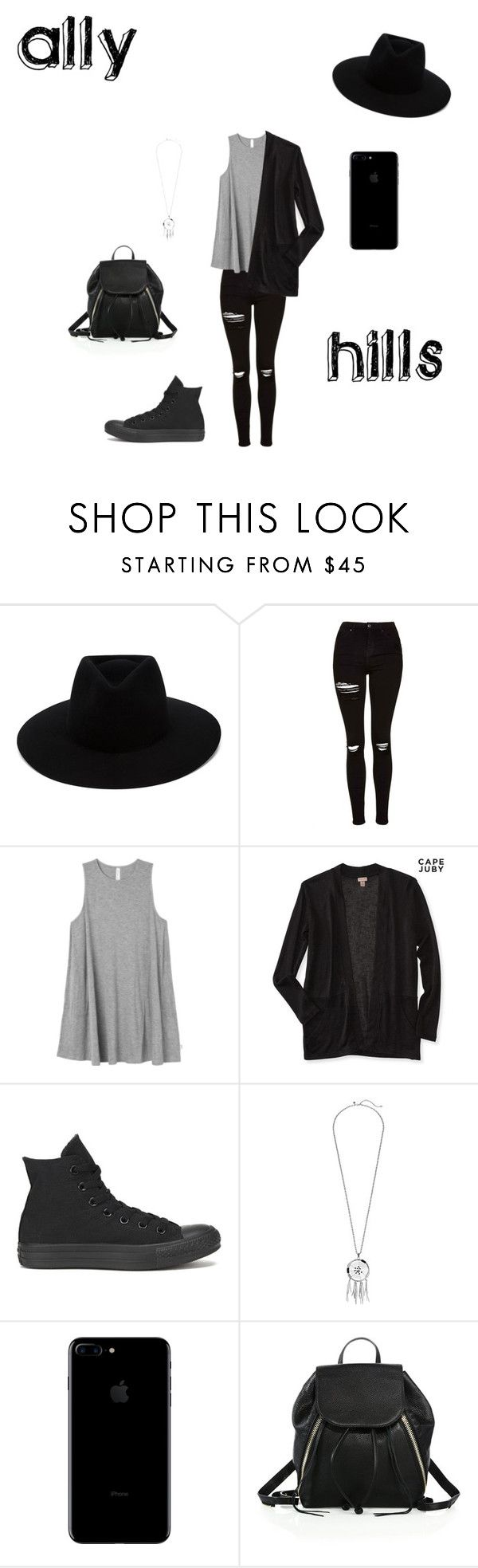 """""""Ally Hills"""" by briia-lewiis ❤ liked on Polyvore featuring rag & bone, Topshop, RVCA, Aéropostale, Converse and Rebecca Minkoff"""