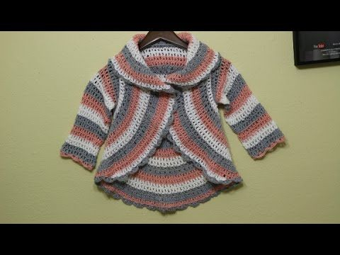 VERY EASY crochet cardigan / sweater / jumper tutorial - baby and child sizes 33 - YouTube