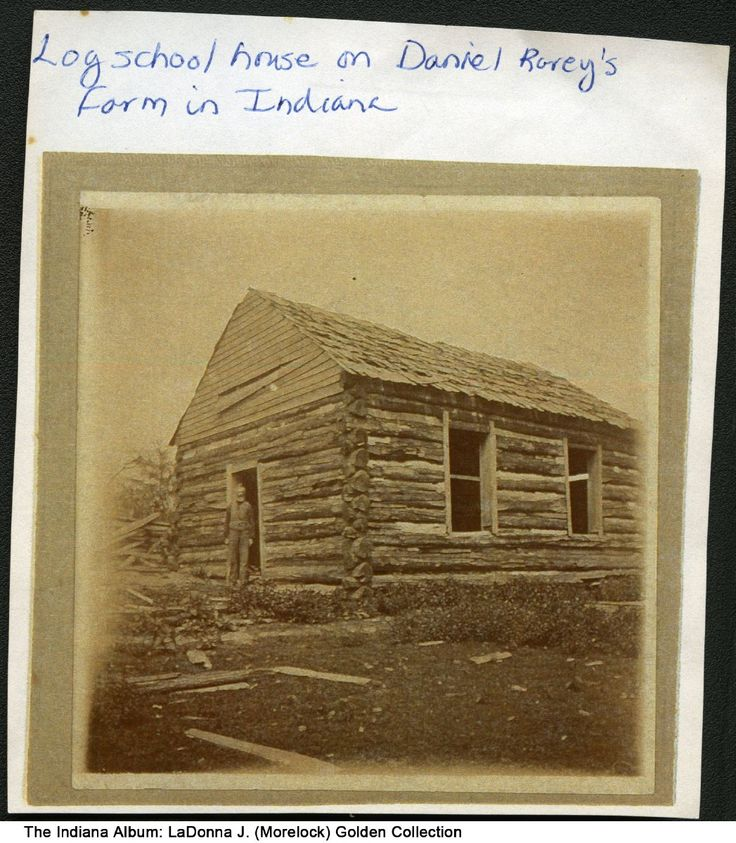 Log school house on Daniel Rarey's farm, Howard County, Indiana, ca. 1913 - Newspaper articles from the 1860s and 1870s reference Daniel Rarey (d. 1906) who lived on a farm in Howard Township in Howard County.